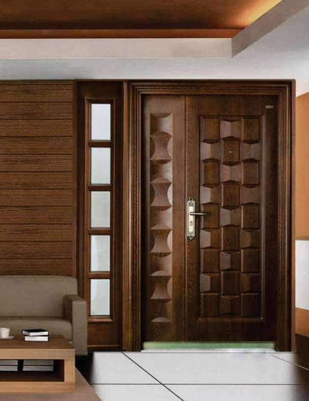 Elegant   Durable And Affordable Steel Doors With Exotic Wooden Finish
