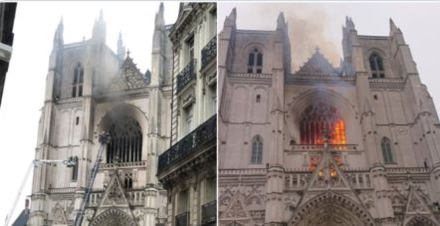 Firemen battle blaze at 15th century Nantes cathedral in western France