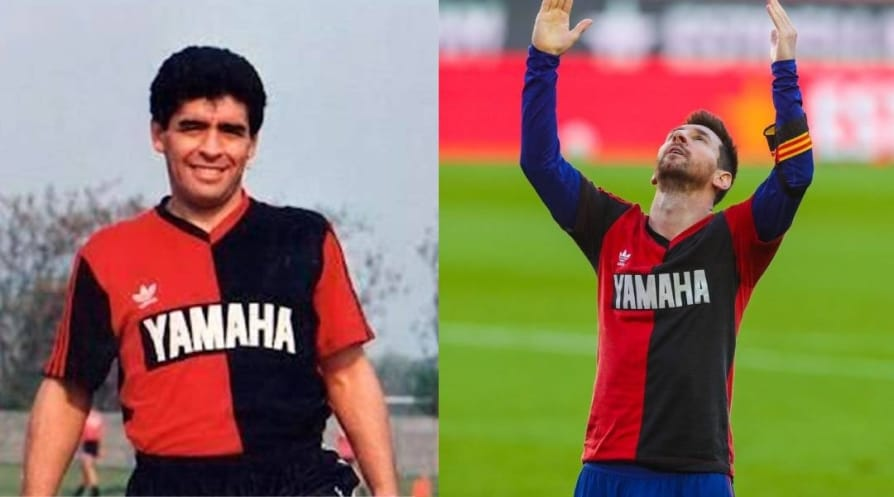 Messi honours Maradona with Newell Old Boys shirt